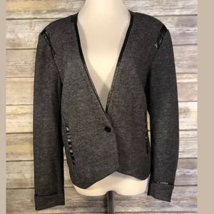 Halogen Gray Faux Leather Blazer Extra Large